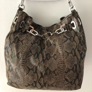 TORY BURCH Snakeskin Hobo Bag Silver Chain